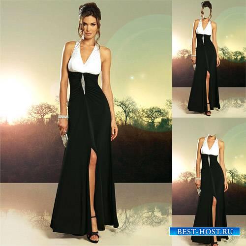 Шаблон для девушек - В черно-белом красивом платье