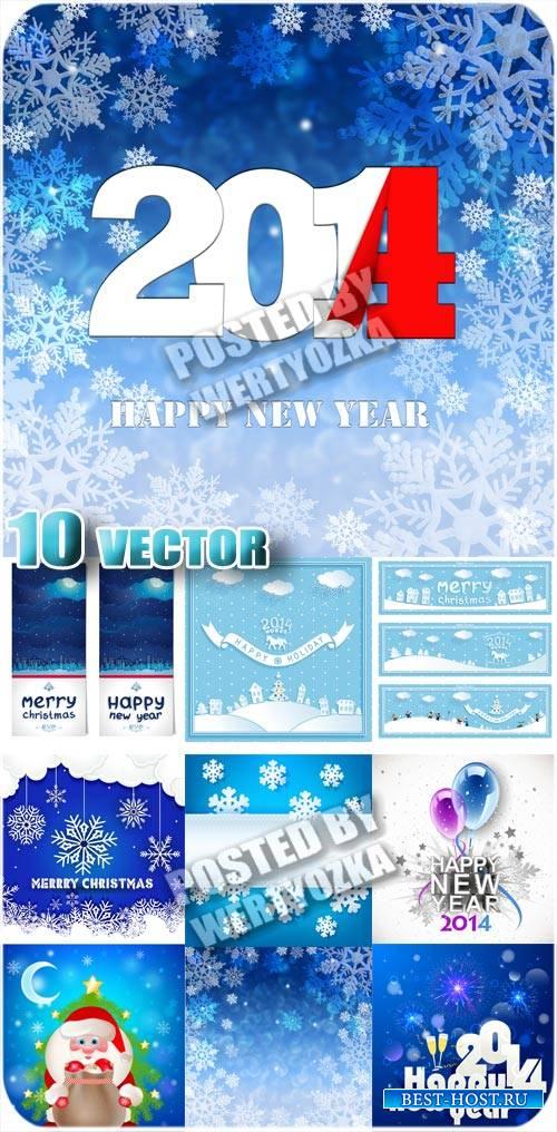 Рождественские  фоны с снежинками и сантой - вектор