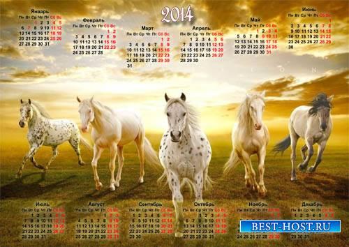 Календарь 2014 - Табун коней