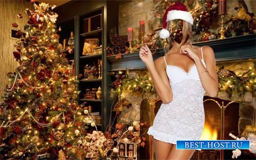 Женский шаблон - Блондинка под новый год в праздничной комнате