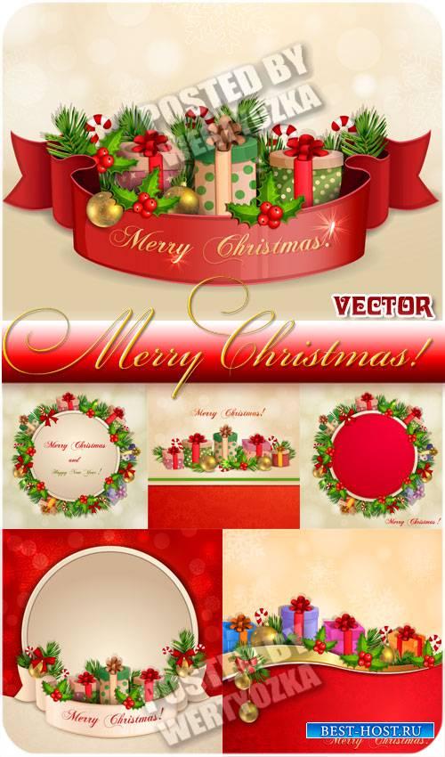 Рождественские фоны с подарками и венками - вектор