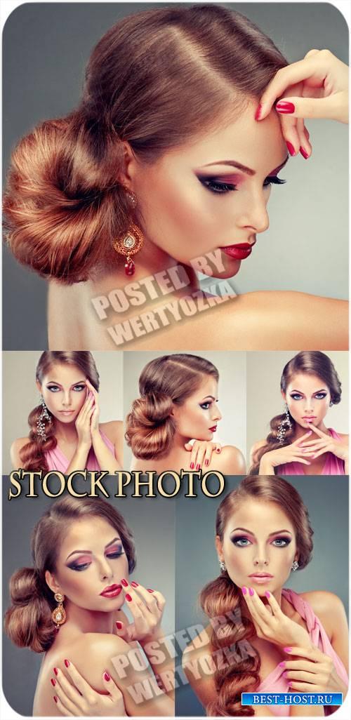 Красивая девушка, стильный макияж - сток фото