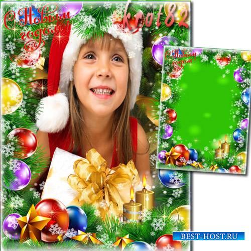 Фоторамка для фотошопа с новогодними игрушками и снежинками – С новым годом