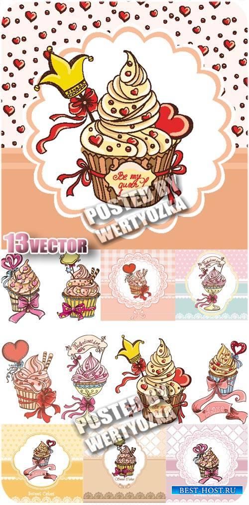 Вкусные кексы - вектор