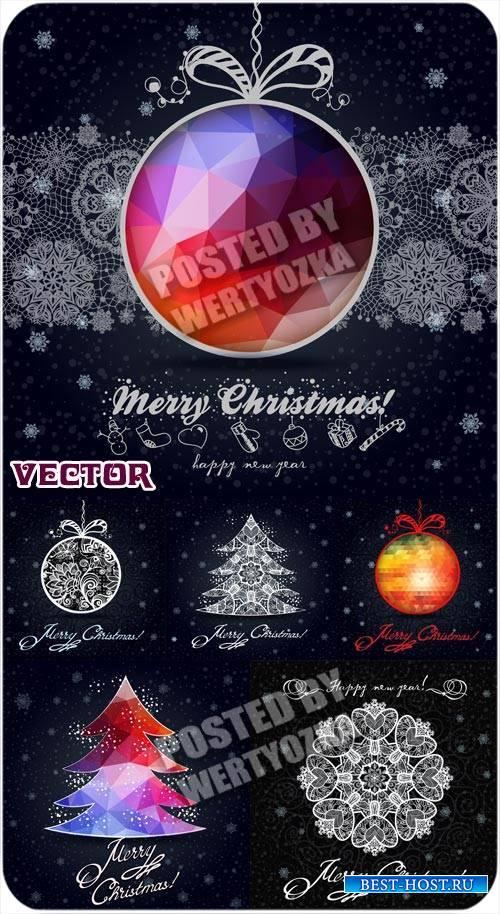 Рождественские векторные фоны с елочкой и снежинками