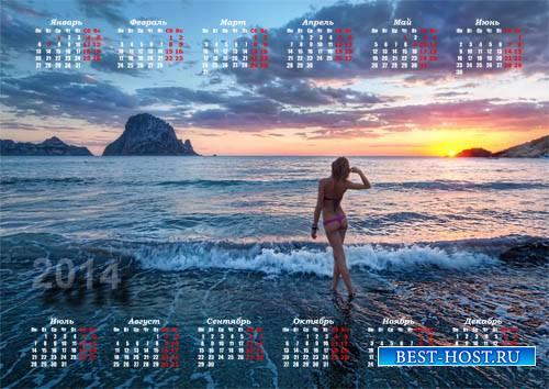 Настенный календарь - Девушка у берега моря на закате