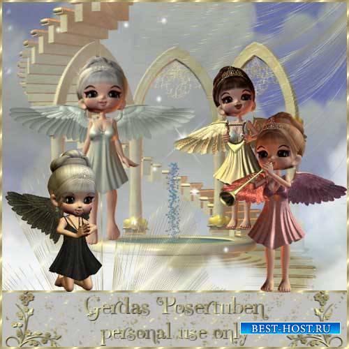 Детский 3D скрап-комплект - Кукольные ангелочки