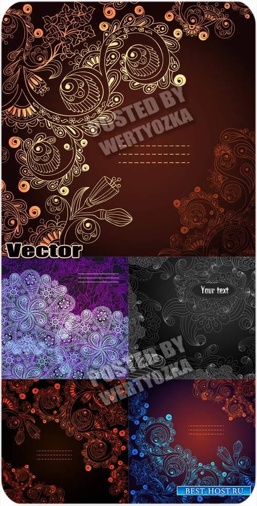 Роскошные фоны с чудесными узорами - вектор