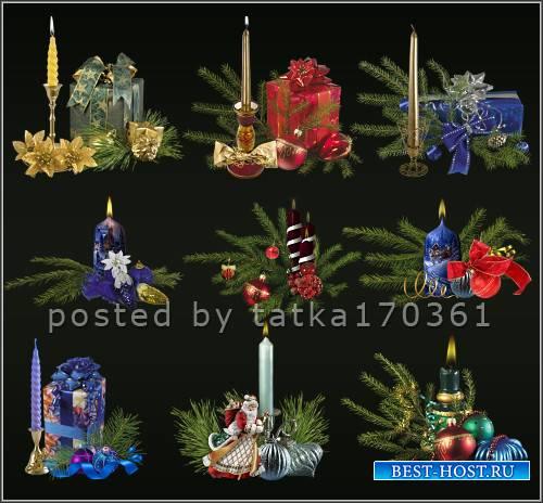 Клипарт для фотошопа - Новогодние декоративные свечи с ёлочными композициям ...