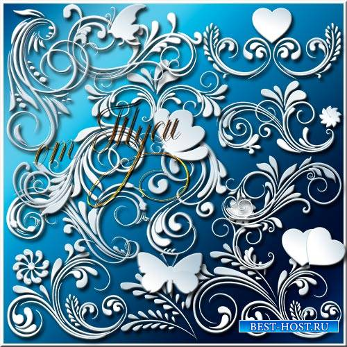 Клипарт - Белые завитки и бабочки