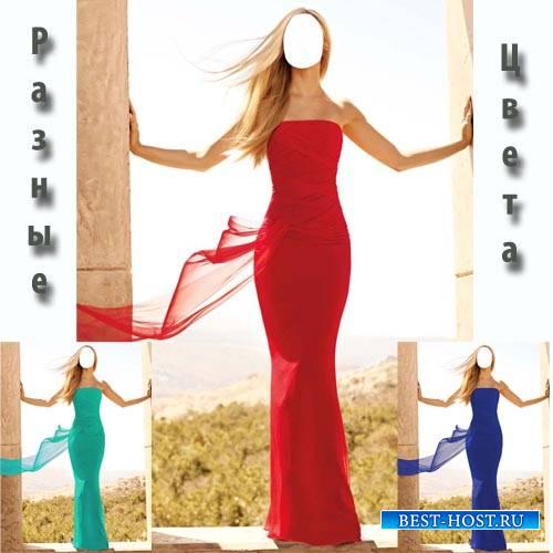 Шаблон psd женский - Стройная блондинка в платье разных цветов