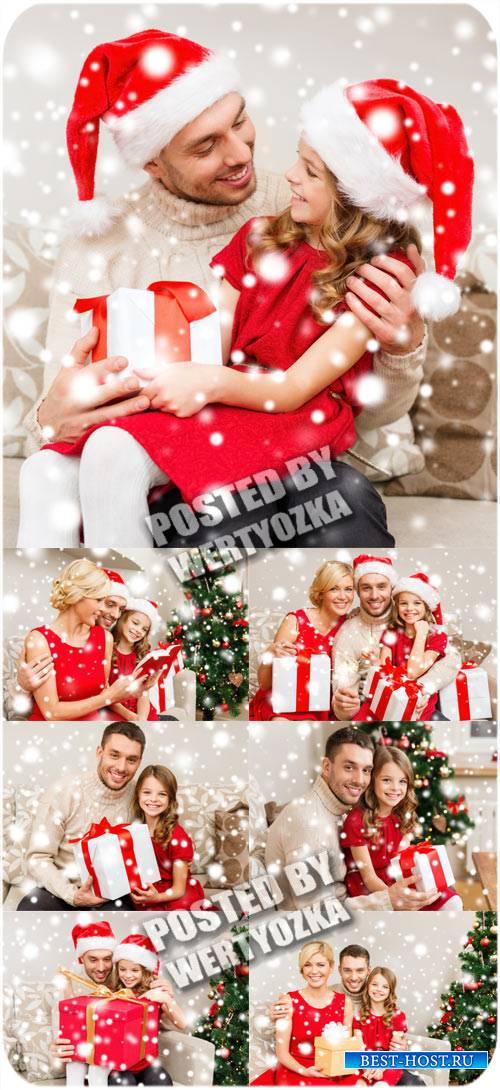 Рождество и счастливая семья - сток фото