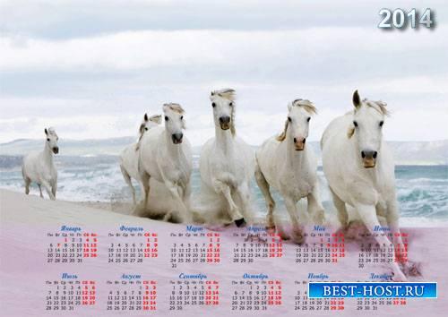Красивый календарь - Белые лошади у воды