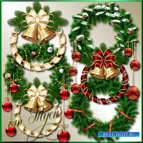 Клипарт - Новогодние венки