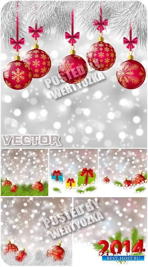 Векторные фоны с елкой, шарами и подарками