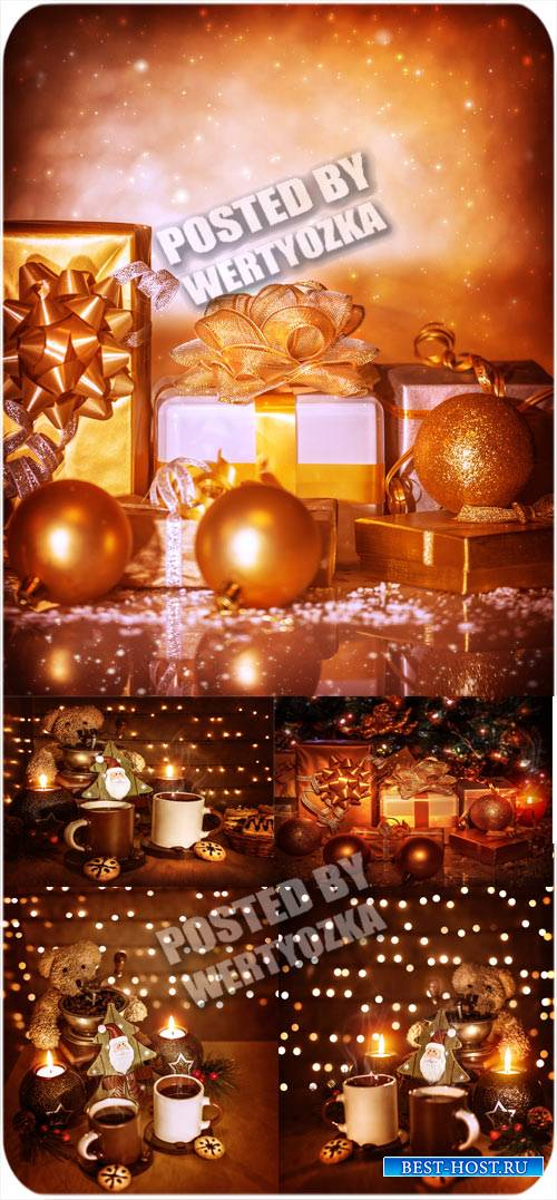 Золотые рождественские фоны с шарами, подарками и чашками кофе - сток фото