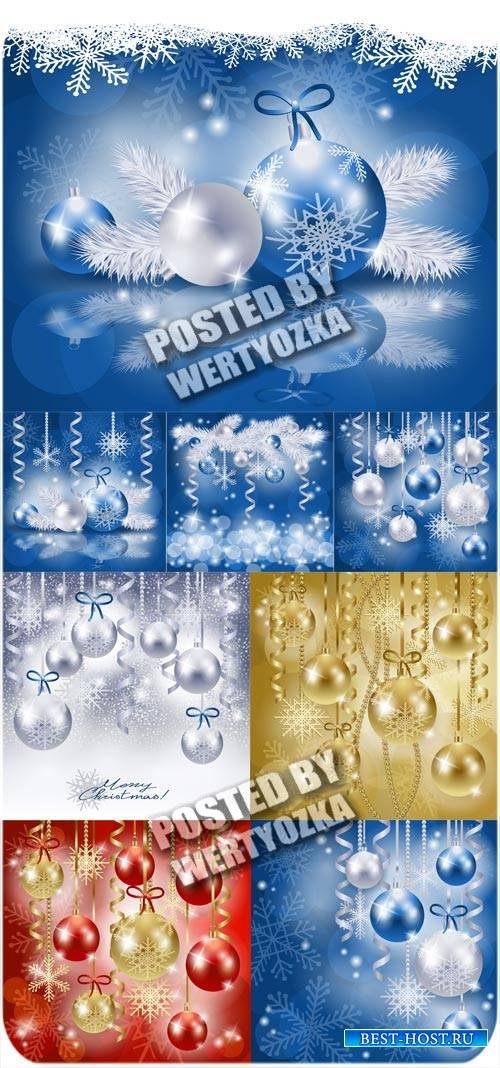 Рождественские шары и елка - вектор