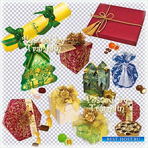 Новогодние подарки на прозрачном фоне