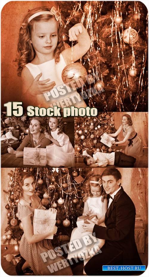 Рождество, семейный праздник - винтажный сток фото