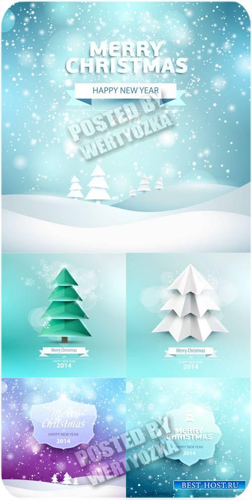 Красивые зимние фоны, рождество - вектор
