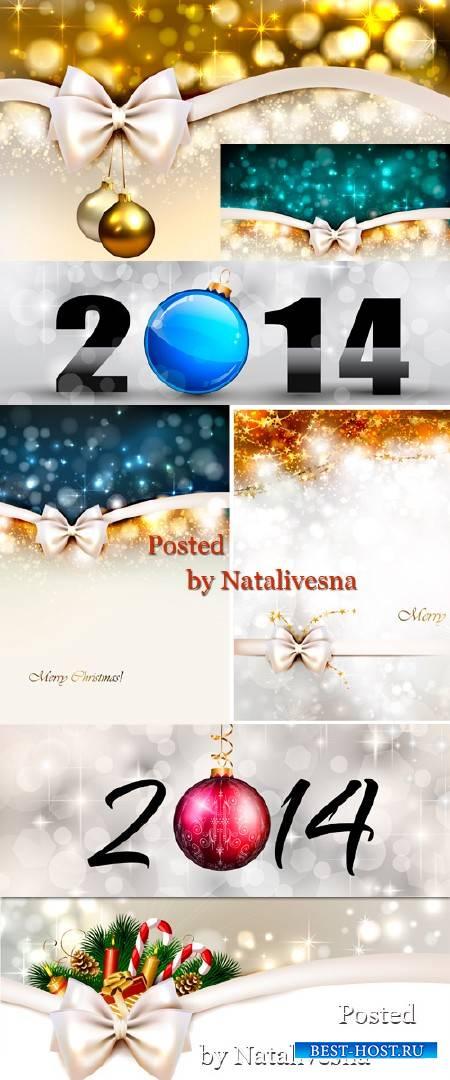 Векторные новогодние фоны 2014 с бантами
