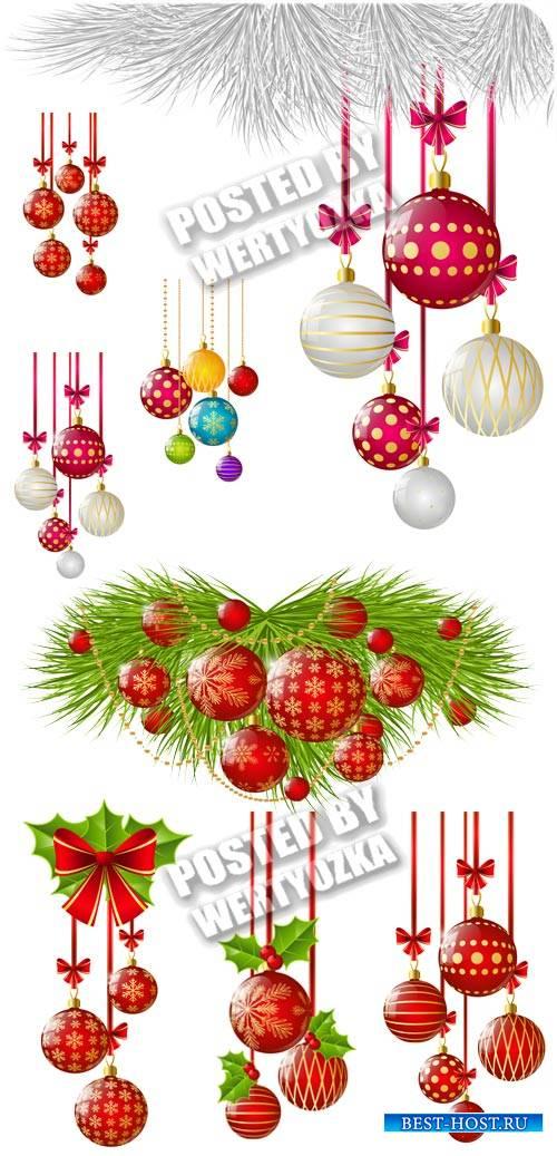 Новогодние шары и елка - вектор