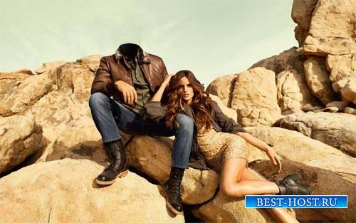 Шаблон для фотошопа - Вы с классной девушкой на камнях