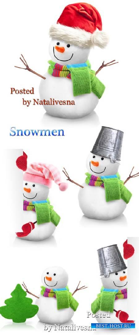 Новогодние снеговики с зеленым  шарфиком