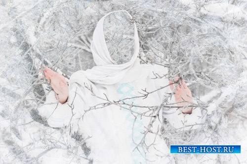 Шаблон для фото - Девушка зимой лесу