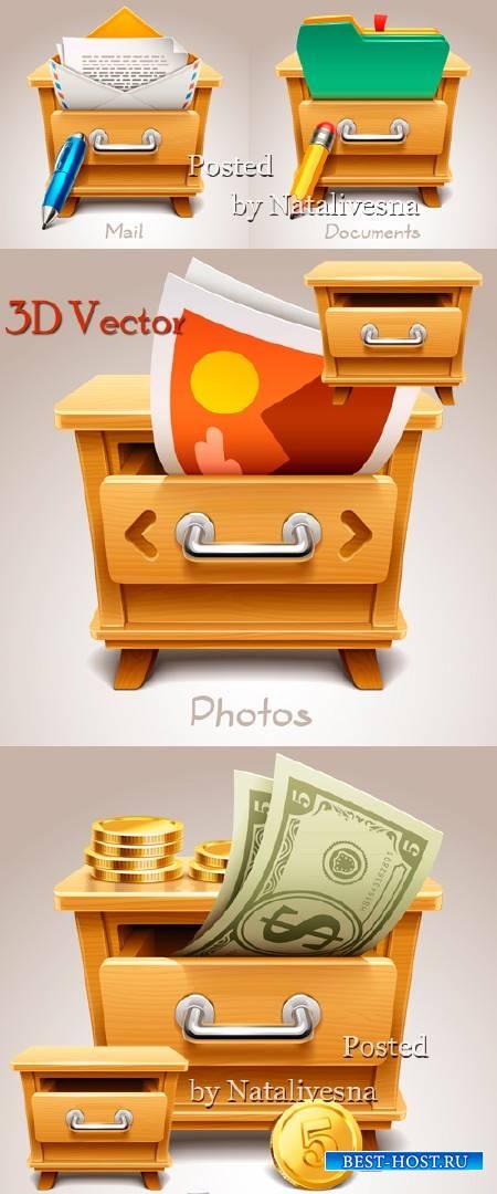 3D Вектор  – Тумбочка с предметами