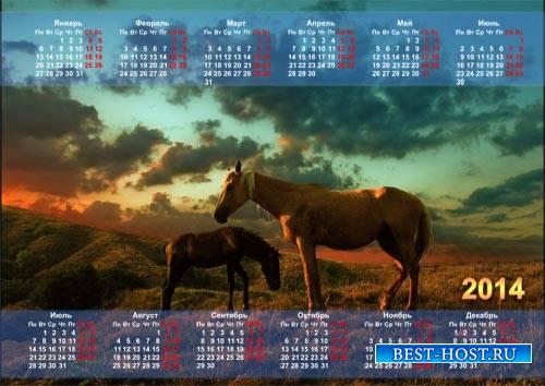 Красивый календарь - Две лошади стоят на полянке