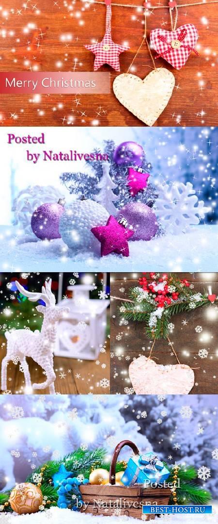 Рождественские фоны с красивыми композициями