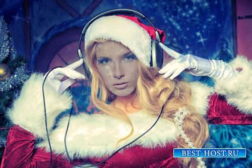 Шаблон для фотомонтажа - Снегурка - ведущая новогоднего праздника