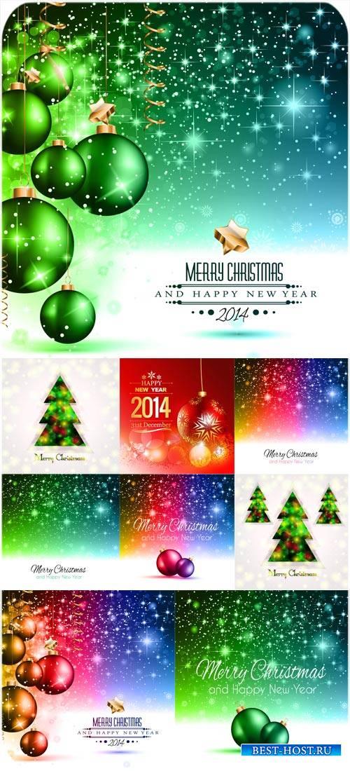 Новый год 2014, векторные фоны с шарами и елками
