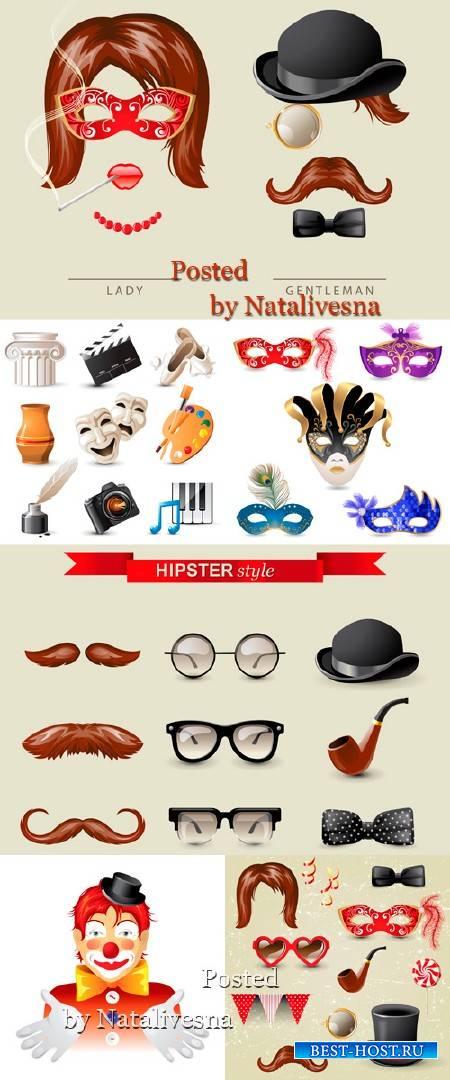Карнавальные маски, шляпы и усы в Векторе