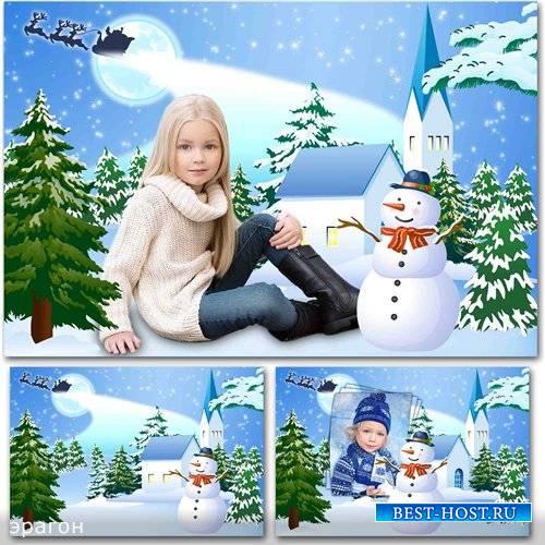 Зимний коллаж и рамка для детских фотографий – Праздничный вечерок