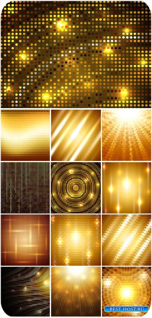 Золотые векторные фоны с ярким сиянием