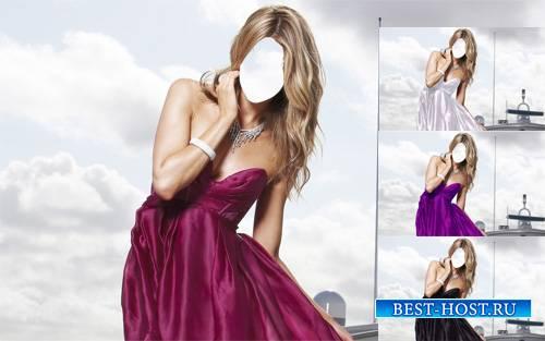Шаблон psd женский - В красивом платье на корабле
