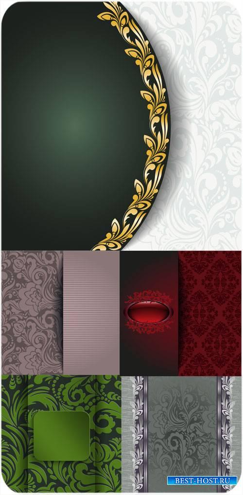 Винтажные векторные фоны с красивыми цветочными узорами