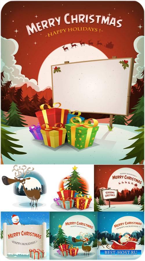 Рождественский вектор, санта, олени и елка с подарками