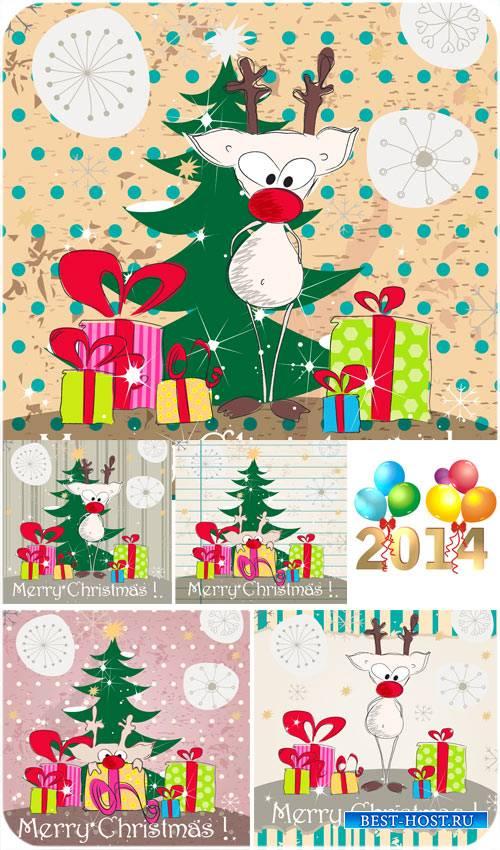 Рождественский вектор с забавным оленем и елкой