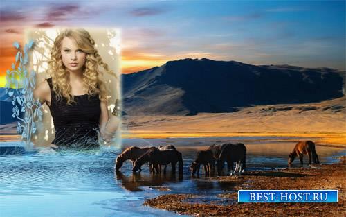 Рамка для фотошоп - Табун лошадей на водопое