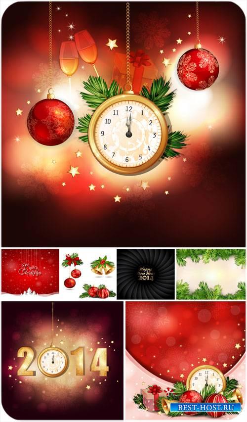 Рождественский вектор, елка, шары и золотые куранты