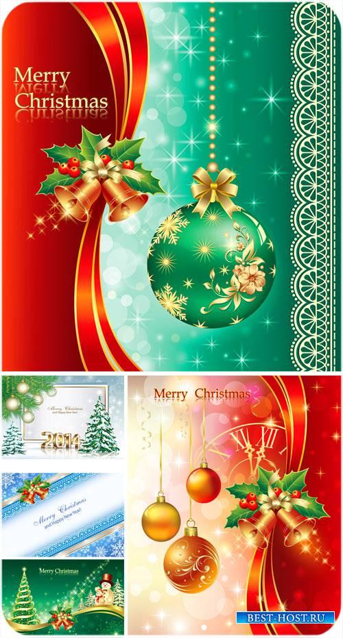 Рождественский вектор, елка, шары и колокольчики