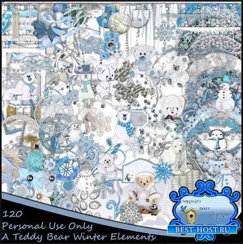 Зимний детский скрап-комплект - Плюшевый мишка
