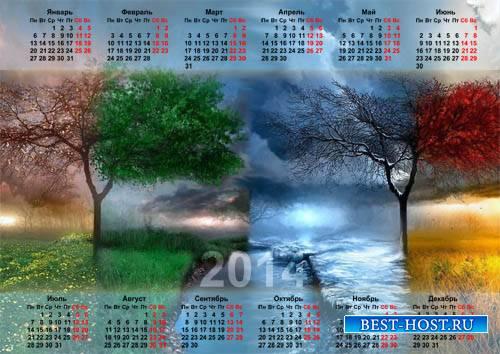 Красивый календарь - 4 поры года природы
