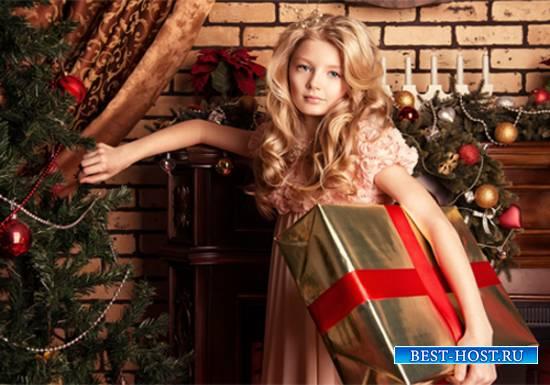 Шаблон  детский - Принцесса с подарком