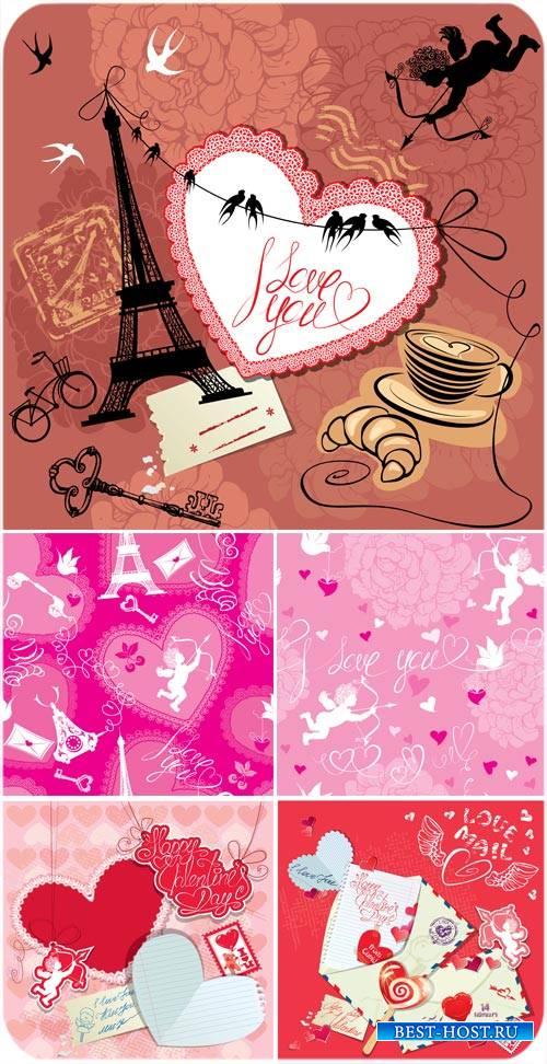 Коллажи с ангелочками и сердечками ко дню Валентина в векторе