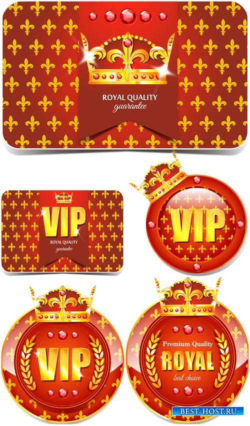 Вип этикетки с золотой короной в векторе