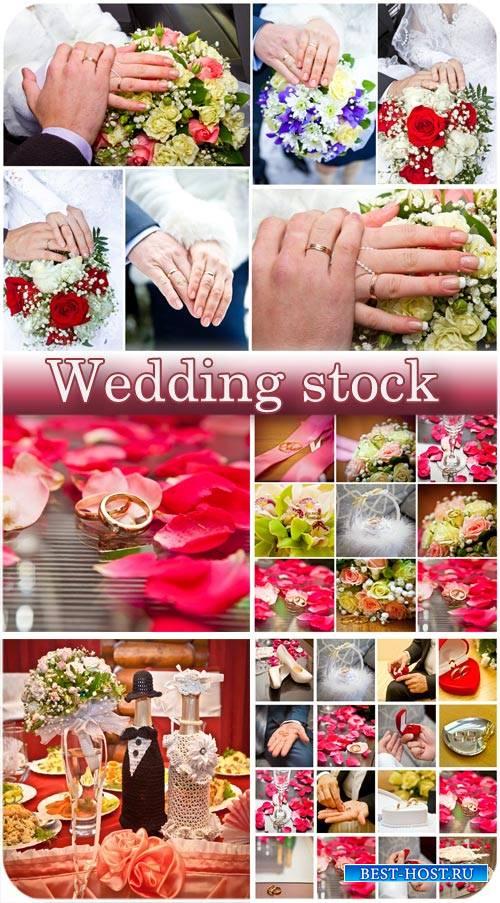 Свадебные коллажи, жених и невеста, обручальные кольца и цветы - сток фото